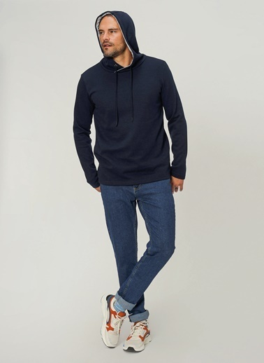 People By Fabrika Kapşonlu Yaka Sweatshirt Lacivert